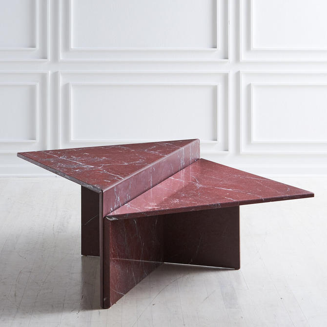 Rosso Francia Two Tiered Marble Coffee Table