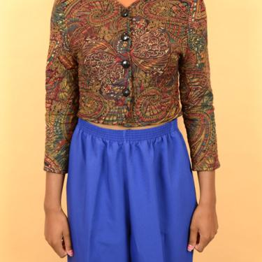 Vintage Brown Quilted Abstract Print Crop Top Blouse Jacket (Small, Medium) by MAWSUPPLY