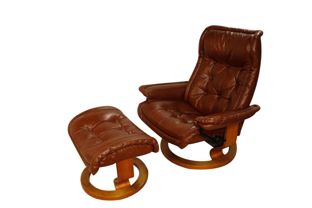 Mid Century Scandinavian Modern Ekornes Stressless Recliner Chair And Ottoman By