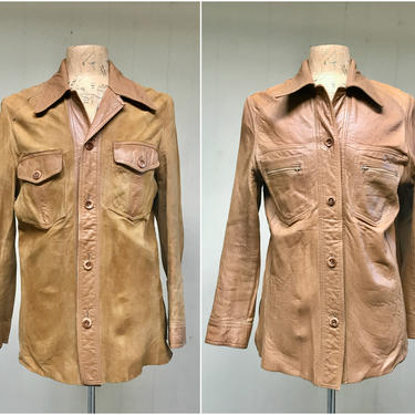 """Vintage 1970s Brown Suede and Leather Reversible Shirt Jacket, Soft Chamois Boho Car Coat, Medium 42"""" Chest by RanchQueenVintage"""