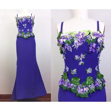 Vintage FE ZANDI Couture Purple Flower Encrusted Gown Skirt and Top Evening Dress Set Designer Beverly Hills Hollywood Glam! by FlashbackATX