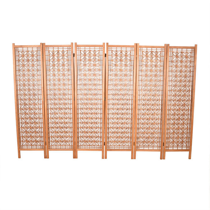 6-Panel Mid Century Modern Patterned Screen | Room Divider