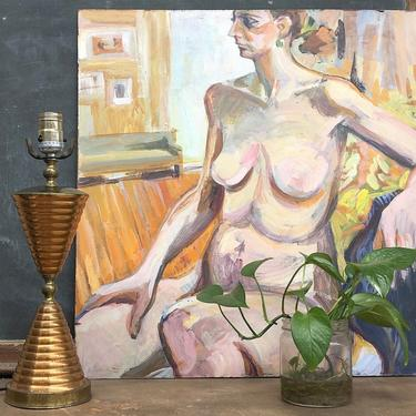 Vintage Nude Painting 1970s Retro Size 24x23 Acrylic + Nude + Female + Portrait + Still Life + Abstract + Original Art + Home Wall Art Decor by RetrospectVintage215