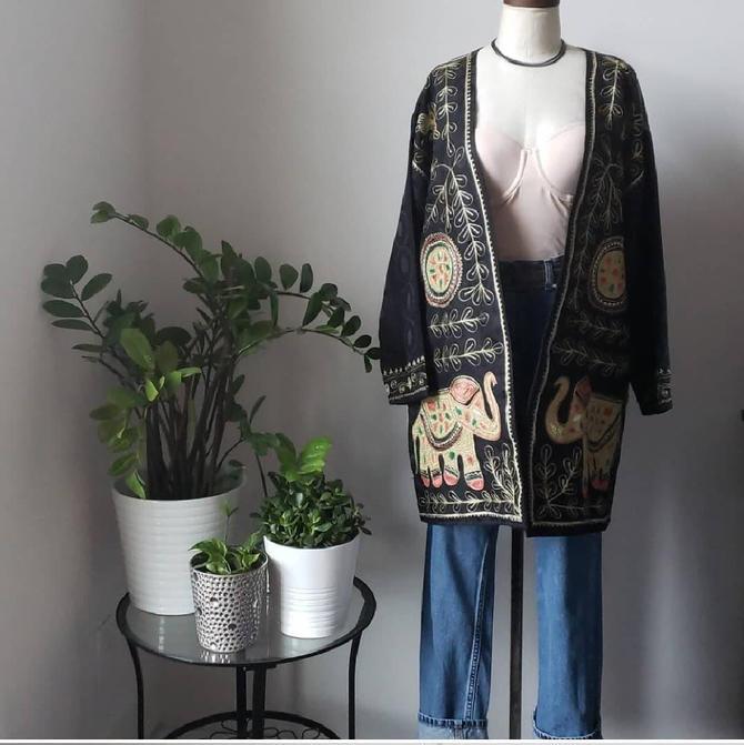 Vintage Embroidered Ethnic Bohemian Kimono Jacket| Bohemian Festival Handmade Jacket Coat| Vintage Duster Cardigan by LoveOnceAgain