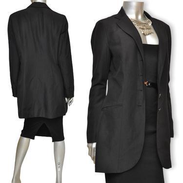 Vintage LAUREN Ralph Lauren Womens Black Blazer Silk Linen Blend 90's Long Fit Blazer size 8/10 by TheUnapologeticSoul