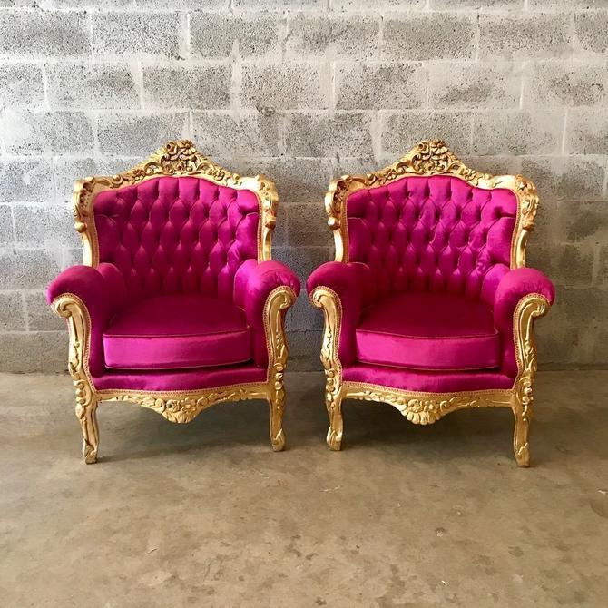 SOLD* French Furniture Antique Throne Chair Tufted Pink French Chair French Louis XVI Tufted Chair Pink Velvet Chair Italian Baroque Roco by SittinPrettyByMyleen