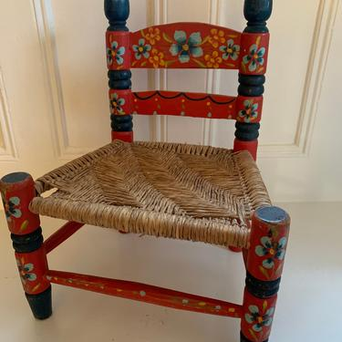 Vintage Mexican Childs Chair with Rush Seat Mexican Folk Art Chairs Kids Chairs by TheFINDstuff4thehome
