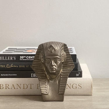 Vintage Brass Statue King Tut Bust Egyptian Revival Cosmopolitan Decor by ModRendition
