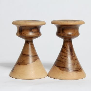 Wooden Candlestick Holders, Wood Candleholders, Wood, Vintage Wood, Vintage candleholders, Vintage, Candlestick holder, Candle, Set of 2 by 1882BlueVintage