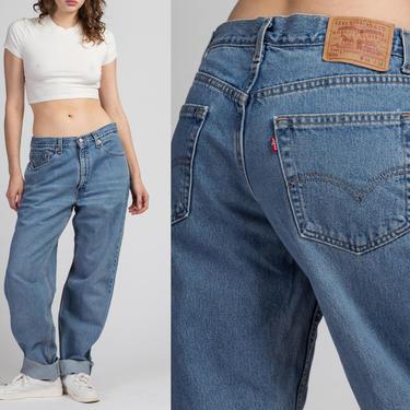 Vintage Levi's 550 Tapered Leg Unisex Jeans - 34x34   90s Denim Medium Wash Boyfriend Dad Jeans by FlyingAppleVintage