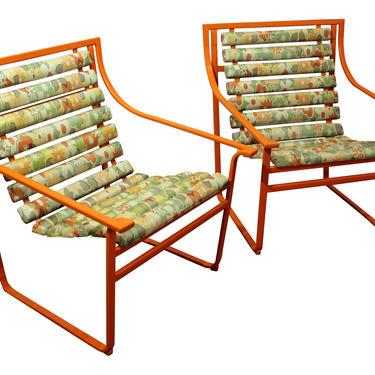 Pair of Mid-Century Modern Atomic Orange Samsonite Outdoor Scoop Seat Arm Chairs by AnnexMarketplace