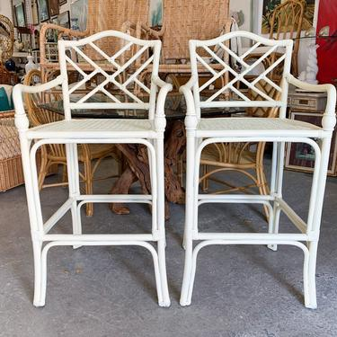 Pair of Rattan Chippendale and Cane Bar Stools