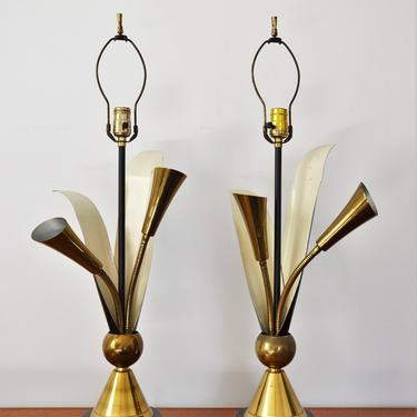 Vintage Mid-Century Modern Cat Tail Table Lamps in Black and Brass by Laurel Lamp Co. - Pair by SourcedModern