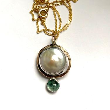 Coin Pearl and Antique Emerald Sculptural Handmade Art Pendant in 14k Goldfill and Sterling Silver by RachelPfefferDesigns