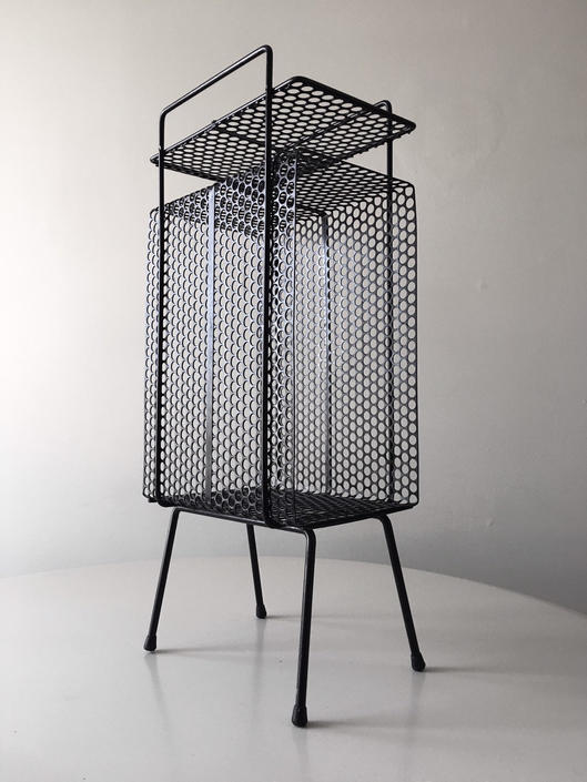 Wire Perforated stand in black Catchall Mategot Eames French Nelson Vintage Mid Century by CaribeCasualShop