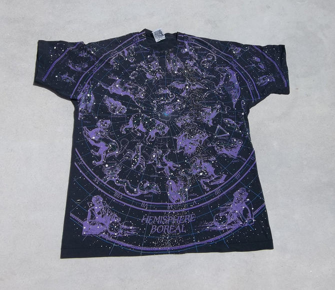 Vintage T-Shirt Liquid Blue Constellations  Purple Faded Black XL 1990S Collectors by RetroVintageClothing