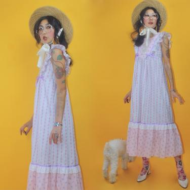 Vintage 1970s Dead Stock Liberty House Ruffle Wing Sleeves Prairie Dress/SZ S/70s 1960s 60s Boho Hippie Glam Eyelet Lace Layer Violet Pastel by TheeAppleBoutique