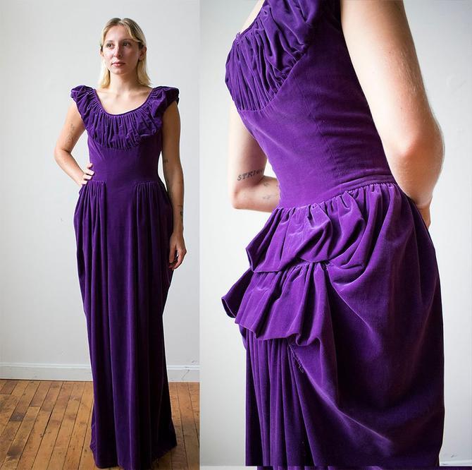 Vintage Purple Velvet Gown / 1940s Formal Gown / 1940s Evening Dress ...