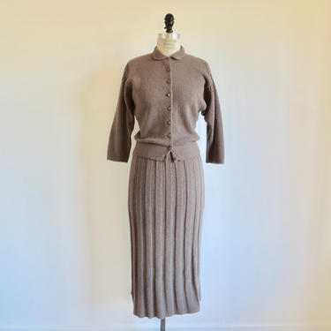 Vintage 1950's Fawn Brown Wool Cardigan Sweater and Skirt Set Ensemble Sweaterdress 2 Piece Pin Up Rockabilly Chevy Chase Medium by seekcollect