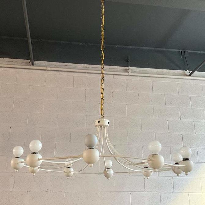 Mid Century Modern Circular Wrought Iron Multi-Bulb Chandelier
