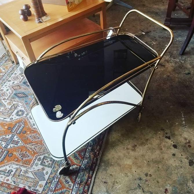 Art Deco Brass and Glass Bar Cart.