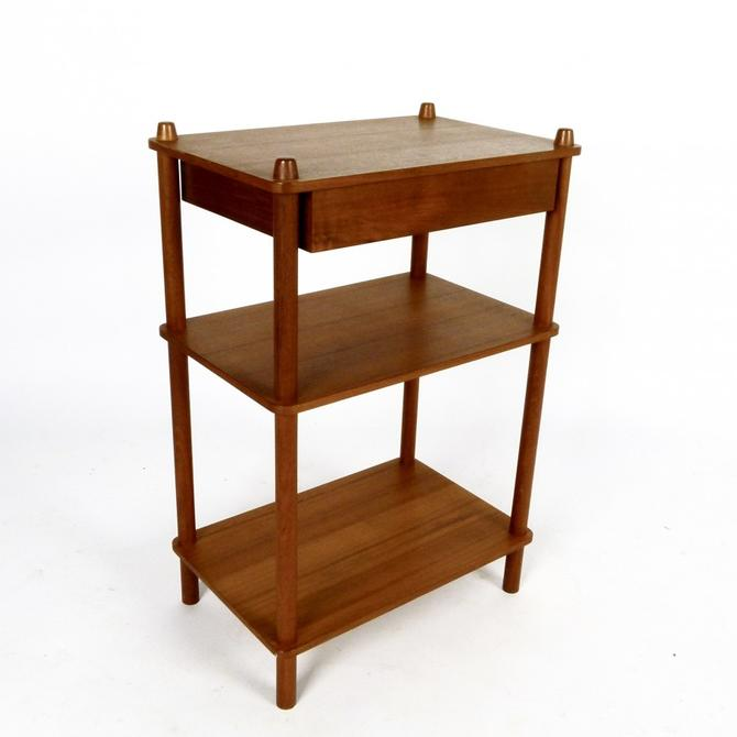 Three Tiered Teak Table With Drawer