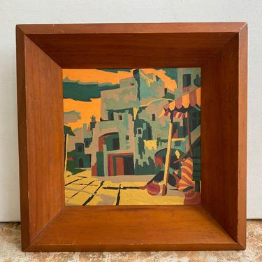 Vintage Southwestern Paint By Number Painting, Pueblo Village With Man Taking A Siesta, Southwest Desert Village, Mystery PBN by luckduck