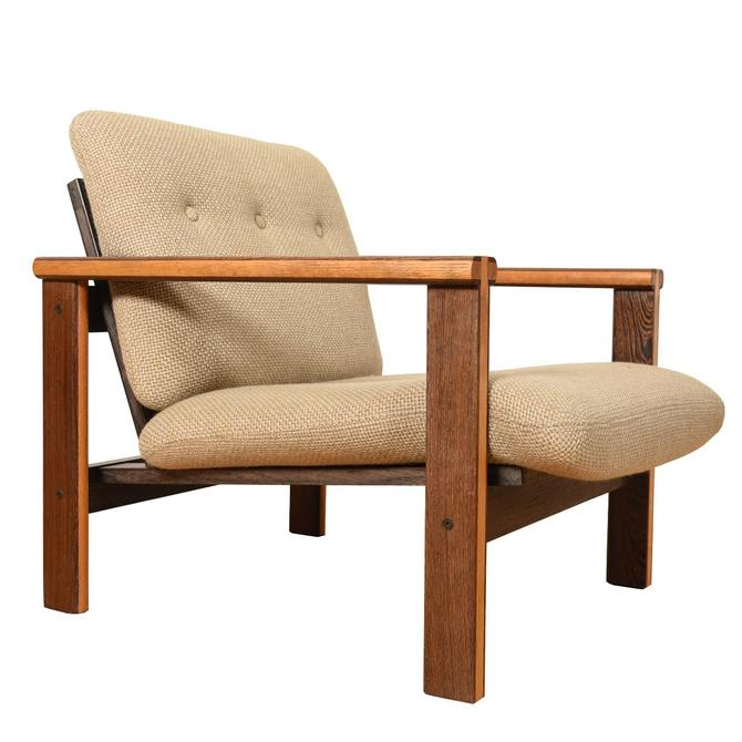 Danish Modern 2-Tone Designer Wenge Wood Lounge Chair