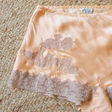 Shelby peach silk & lace tap pants, 1930s vintage lingerie, 1920s silk panties by ErstwhileStyle