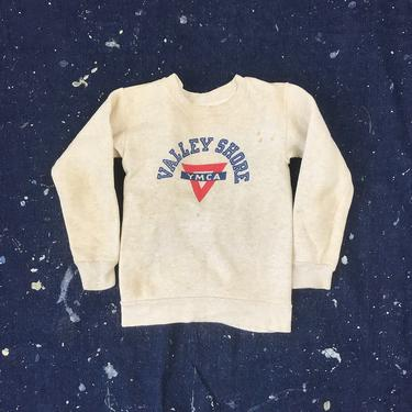 Boys Size 10 Vintage 1950s 1960s Champion YMCA Heathered Gray Sweatshirt by BriarVintage
