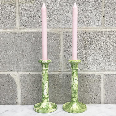 Vintage Candlestick Holders Retro 1980s Paul Hanson + Ceramic + Green Splatter Design + 9 Inches Tall + Set of 2 Matching + Table Decor by RetrospectVintage215