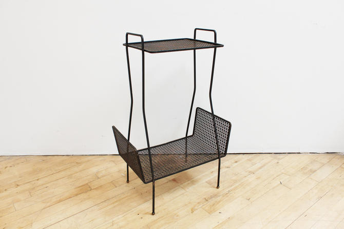 Mid Century Modern Iron Mesh Tiered Patio Table Woodward Gold Feet Side Table End Vintage by 330ModernAntique
