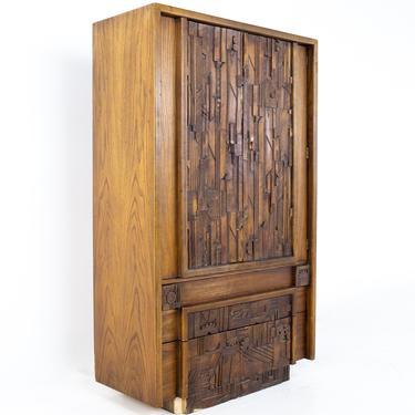 Paul Evans Style Lane Pueblo Brutalist Mid Century Walnut Armoire Gentlemans Chest - mcm by ModernHill