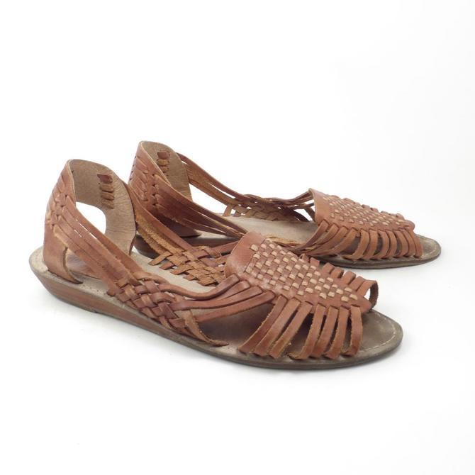 104717c51302f Brown Woven Sandals Vintage 1980s Ellemenno Leather Huaraches  Women amp  39 s size 8