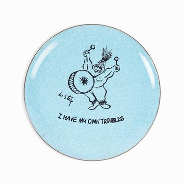 """William Steig Enameled Plate """"I Have My Own Troubles"""" Vintage Copper Bernad by VintageInquisitor"""