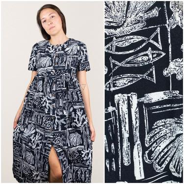 80s Hawaiian Kaftan Tropical Black & White Dress • Hilo Hattie • Medium by SonjloStudio