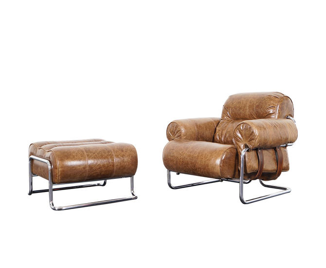 """Italian Leather """"Tucroma"""" Lounge Chair and Ottoman by Guido Faleschini"""
