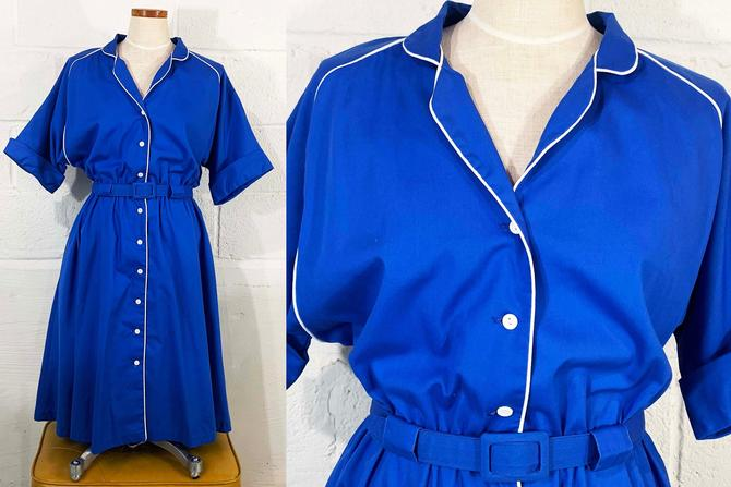 Vintage Royal Blue Dress Cotton White Piping 1970s 70s Short Sleeve Sleeves Elastic Waist Belt Lightweight Summer Shirtdress Large XL by CheckEngineVintage