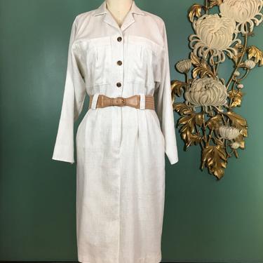 1980s dress, safari style, vintage 80s dress, nubby beige, bust pockets, blouson dress, office, secretary, size medium, long sleeve, oatmeal by BlackLabelVintageWA