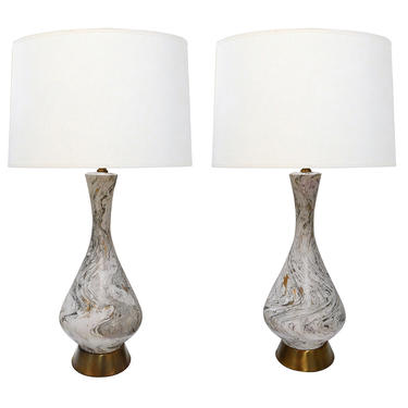 a striking and Pair Vintage 1950's Faux Marble Ceramic Lamps by Tye of California, Los Angeles