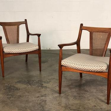 Mid-Century Modern Lounge Chair With Floating Seat & Cane Back ~ A Pair by modernmidcenturyfurn