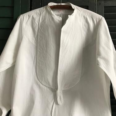 1920s French Chemise, Mens Dress Shirt, Fine Quality White Cotton, Original Paris Label by JansVintageStuff