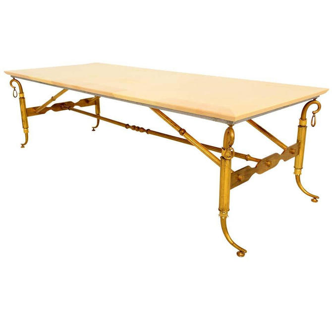 Arturo Pani Parchment and Brass Coffee Table Hollywood Regency by AMBIANIC