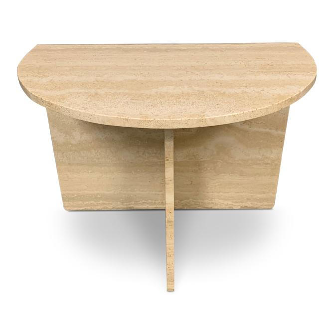 Demilune Travertine Midcentury Console Table
