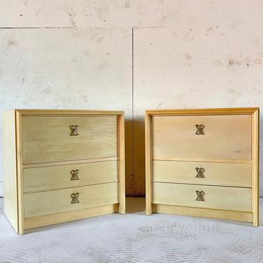 """Mid-Century Modern """"X"""" Handle Nightstands by Paul Frankl by secondhandstory"""
