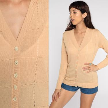 Tan Cardigan Sweater 70s Sheer Cutwork Open Weave Cut Out Sweater Vintage Acrylic Knit 80s Slouchy Grandma Large 12 by ShopExile
