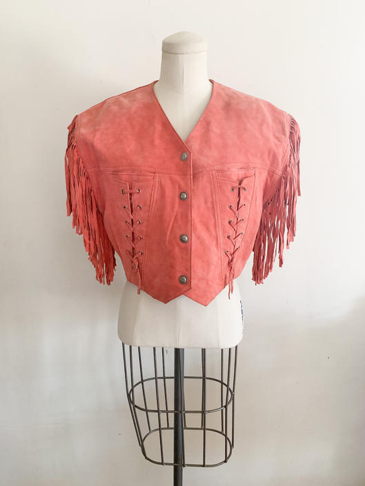 Vintage 1980s Mauve Pink Suede Leather Vest / M (as is) by MsTips