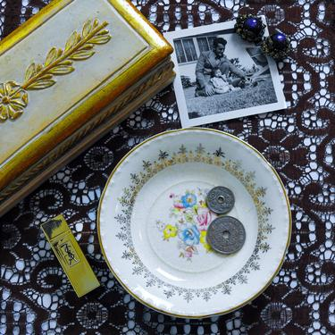 Antique Trinket Dish / Shabby Chic Ring Dish / Porcelain Catchall by blackwellhabitat