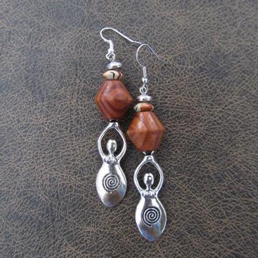 Goddess earrings, African statement earrings, Afrocentric earrings brown orange tribal earrings, primitive earrings, boho chic female figure by Afrocasian