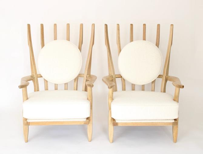 Pair of French Bleached Oak Grand Repos Lounge Chairs Guillerme et Chambron Votre Maison